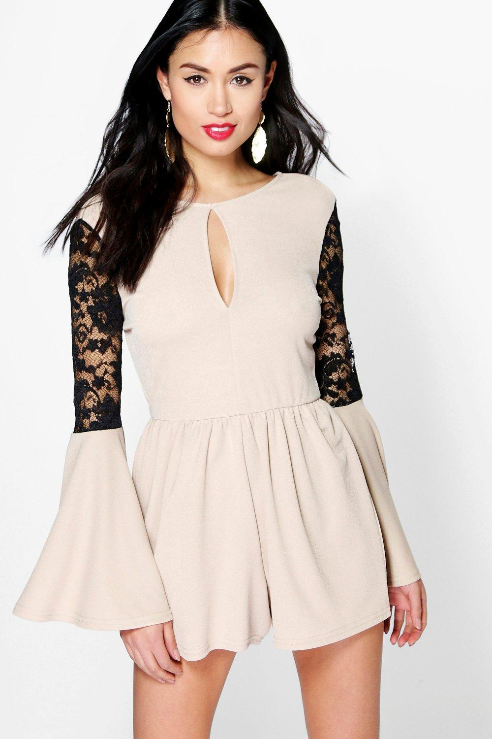 Mary Lace Insert Flute Sleeve Playsuit