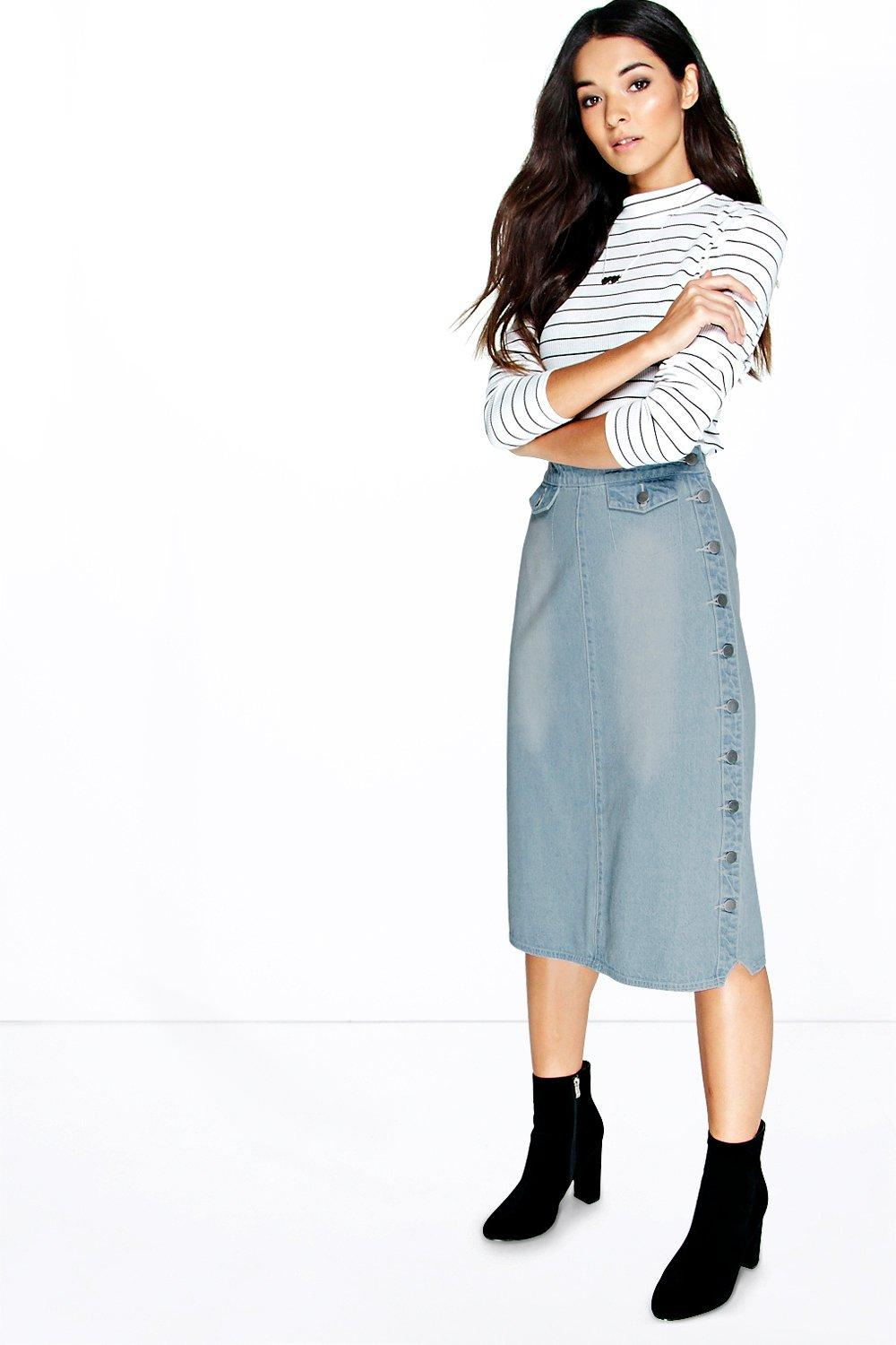 Mia Side A Line Button Denim Midi Skirt