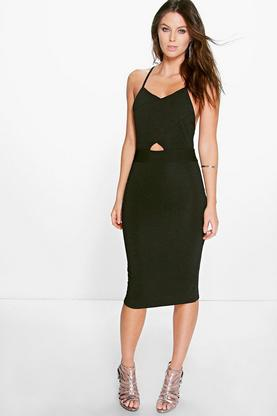 Rach Textured Cross Over Midi Bodycon Dress
