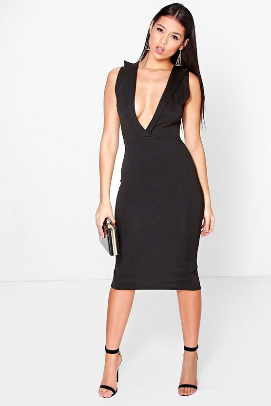 Michi Wide Collar Plunge Bodycon Dress
