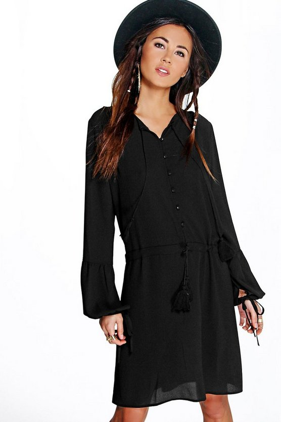 Jannis Ruffle Button Front Woven Dress