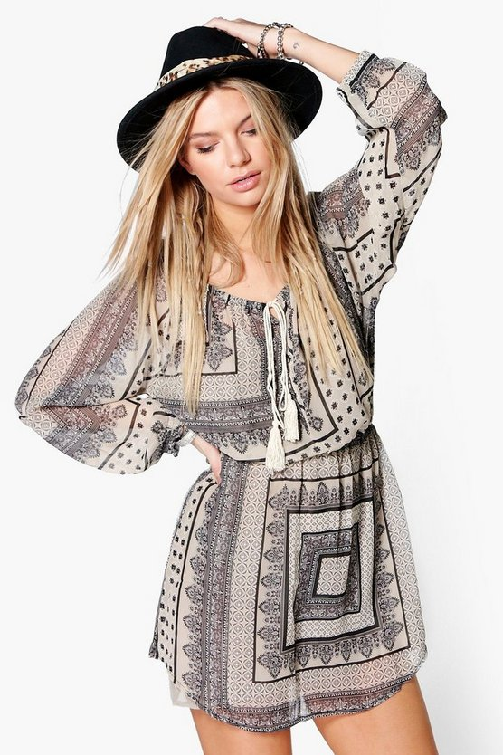 Leila Scarf Print Tassel Trim Dress