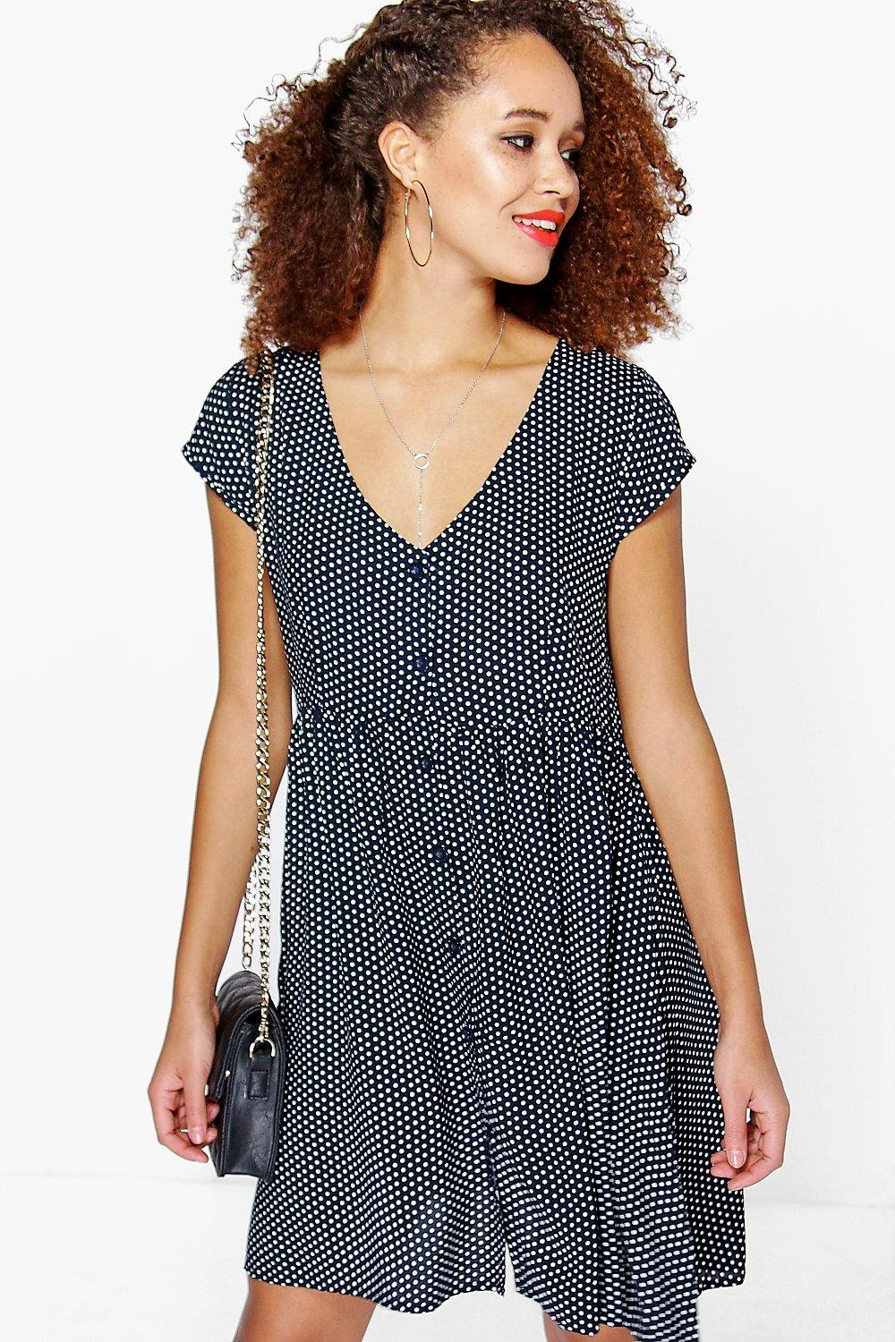 Pamela Polka Dot Smock Dress