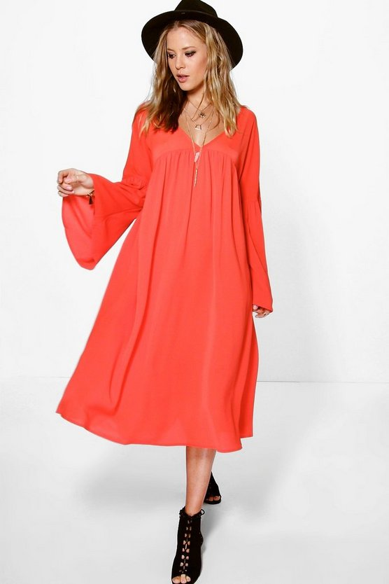 Amy V Neck Babydoll Smock Dress