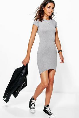 Marina Cap Sleeve Curved Hem Bodycon Dress