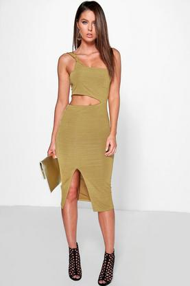 Freyja One Strap Cut Out Waist Split Midi Dress