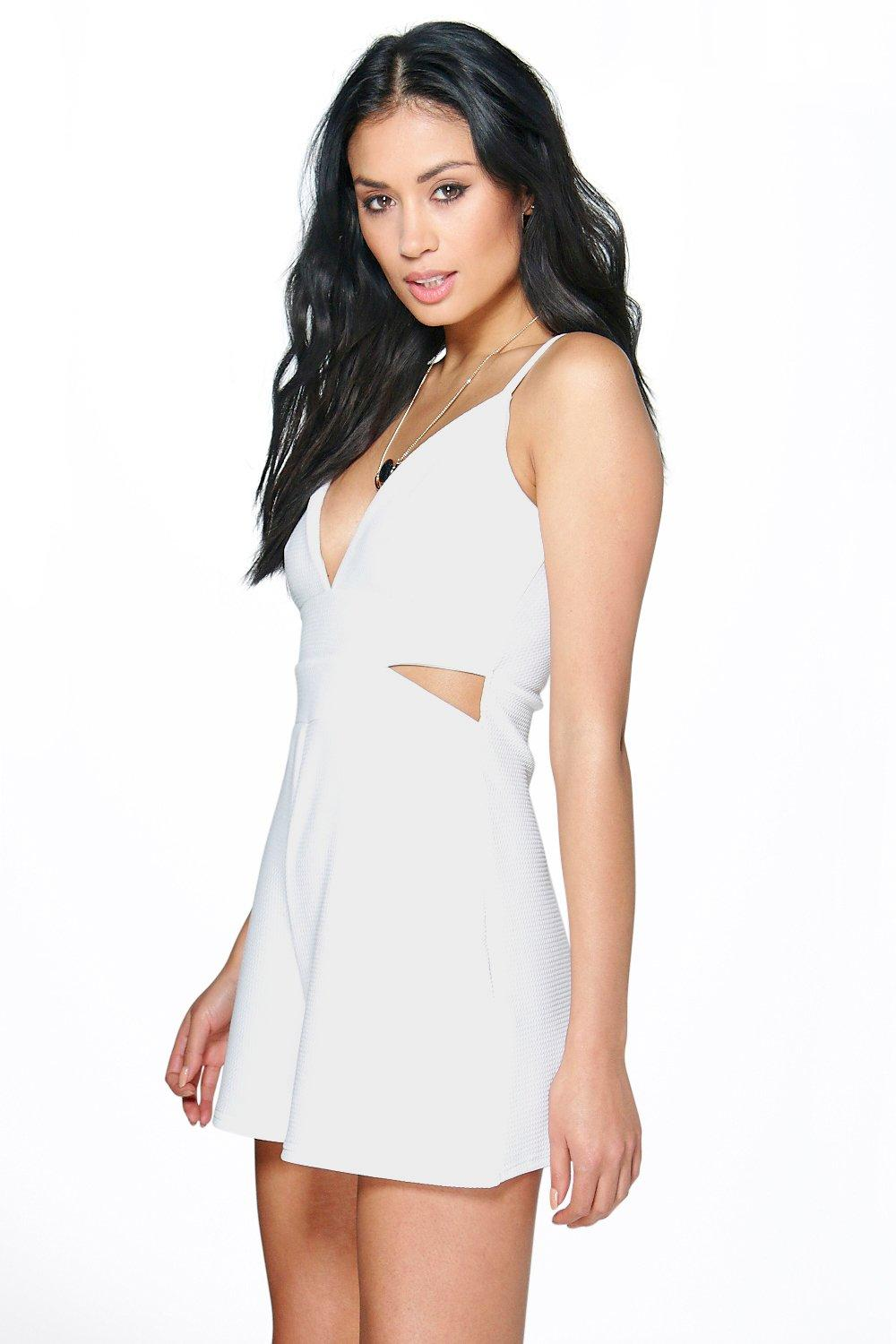 Lalita Textured Plunge Cut Side Playsuit