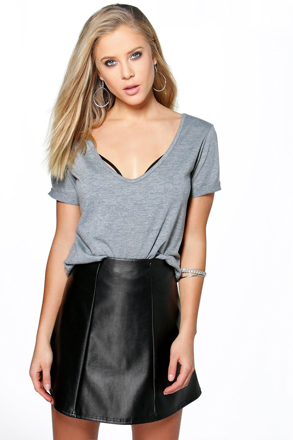 Freya Leather Look Panelled A Line Skirt