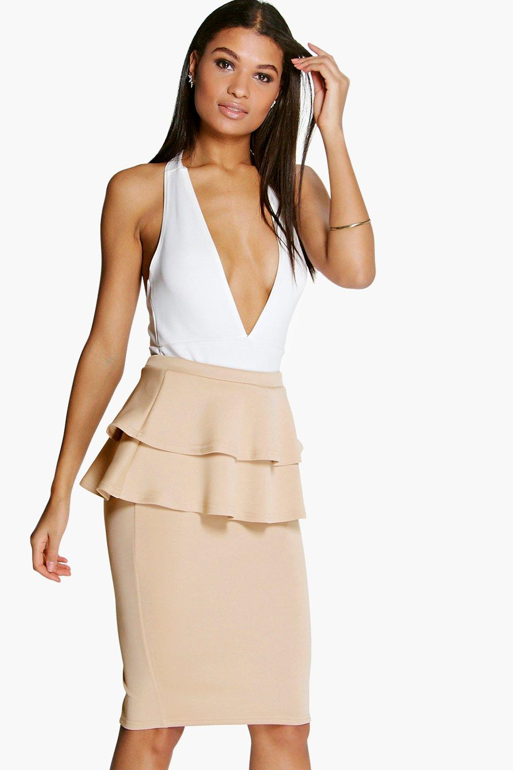 Kate Double Peplum Midi Skirt