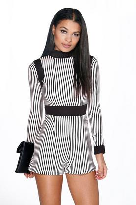 Libby High Neck Stripe Playsuit
