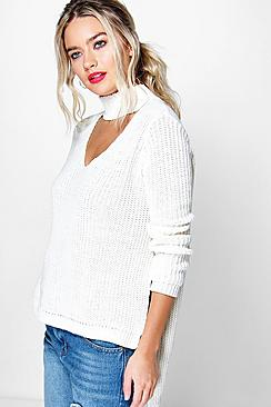 Lena Choker V Neck Oversized Jumper