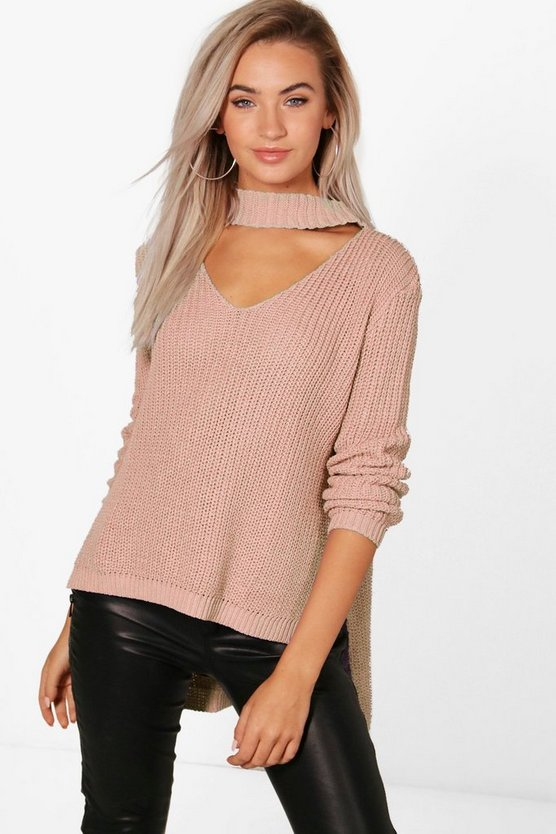 Choker V Neck Oversized Jumper