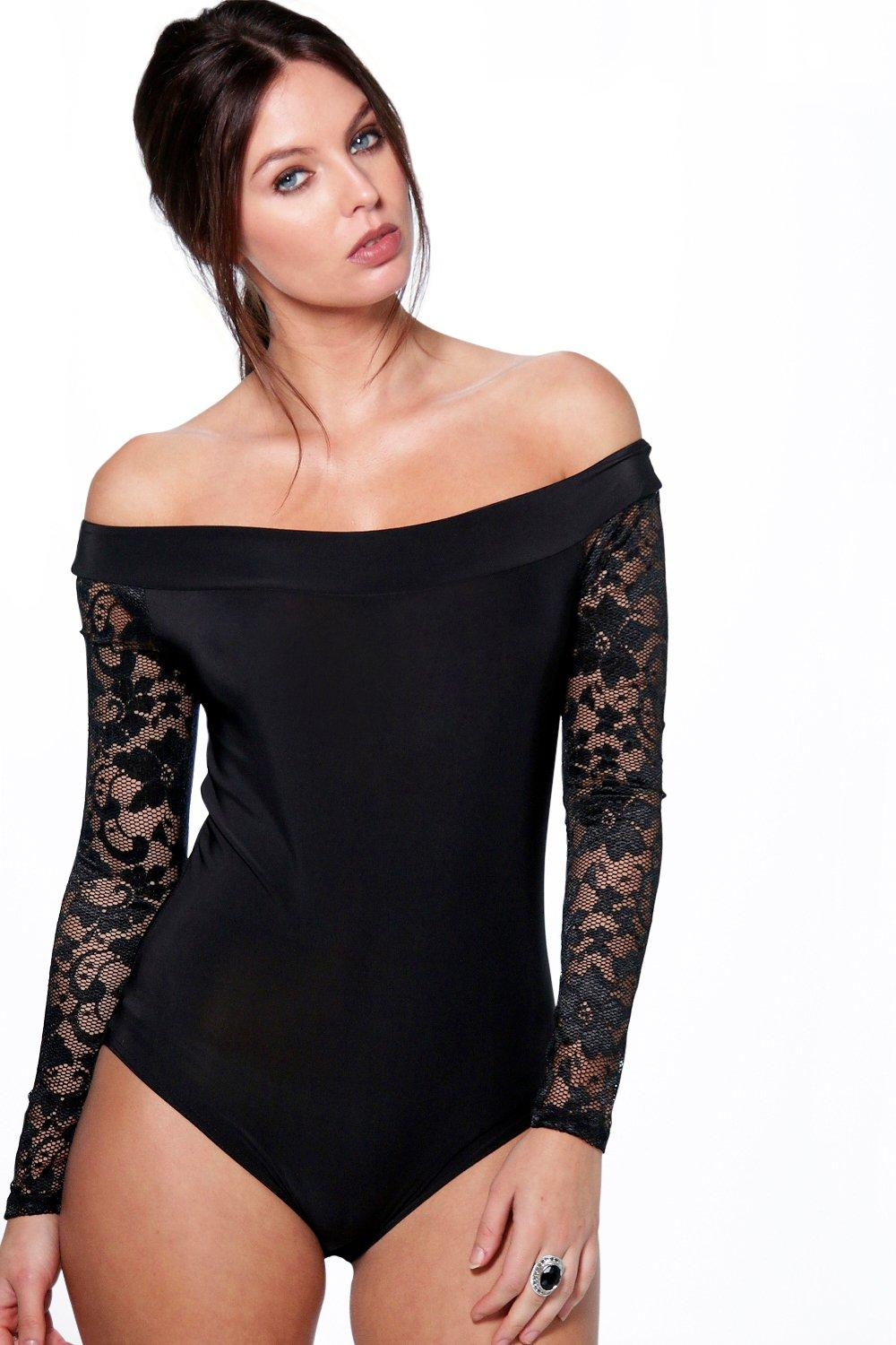 Amber Slinky Off The Shoulder Lace Sleeve Body