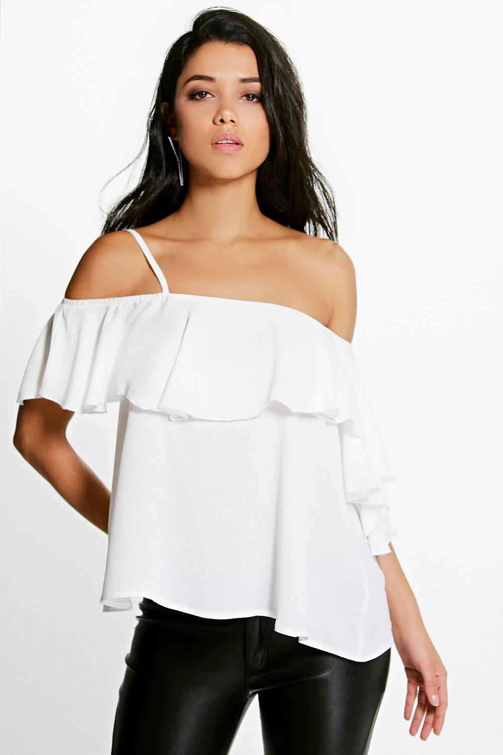Maya Ruffle One Shoulder Woven Top