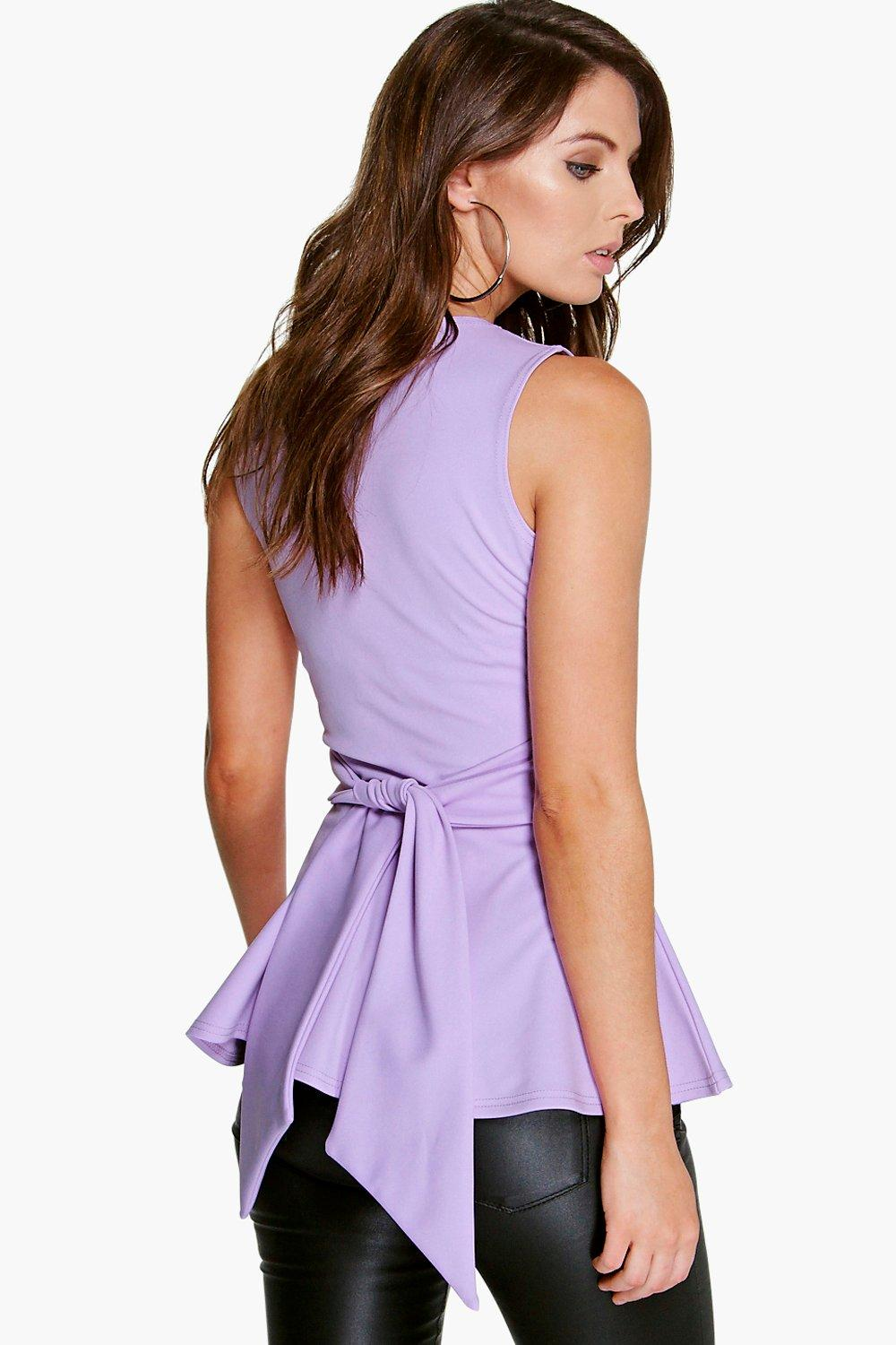 Amy Tie Front Sleeveless Peplum