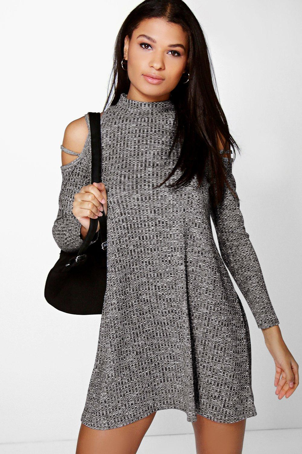Strappy Cold Shoulder Swing Dress charcoal