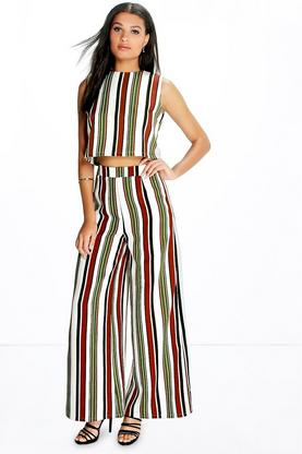 Nina High Waisted Striped Wide Leg Trousers