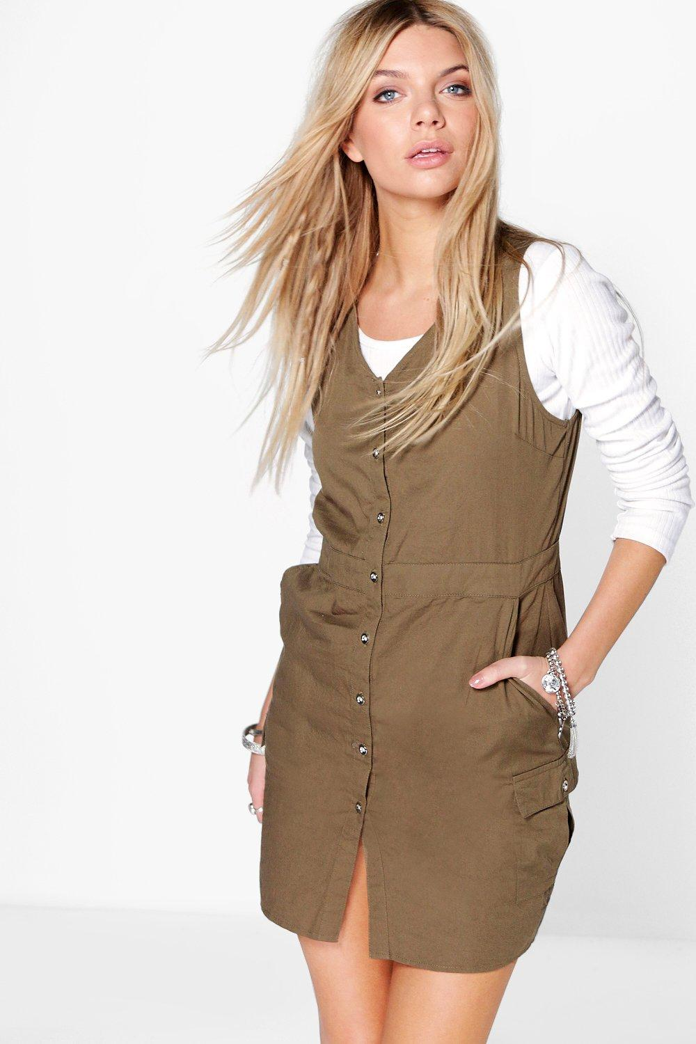 Ava Button Utility Pinafore Dress