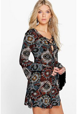 Rose Tile Print Fluted Sleeve Swing Playsuit