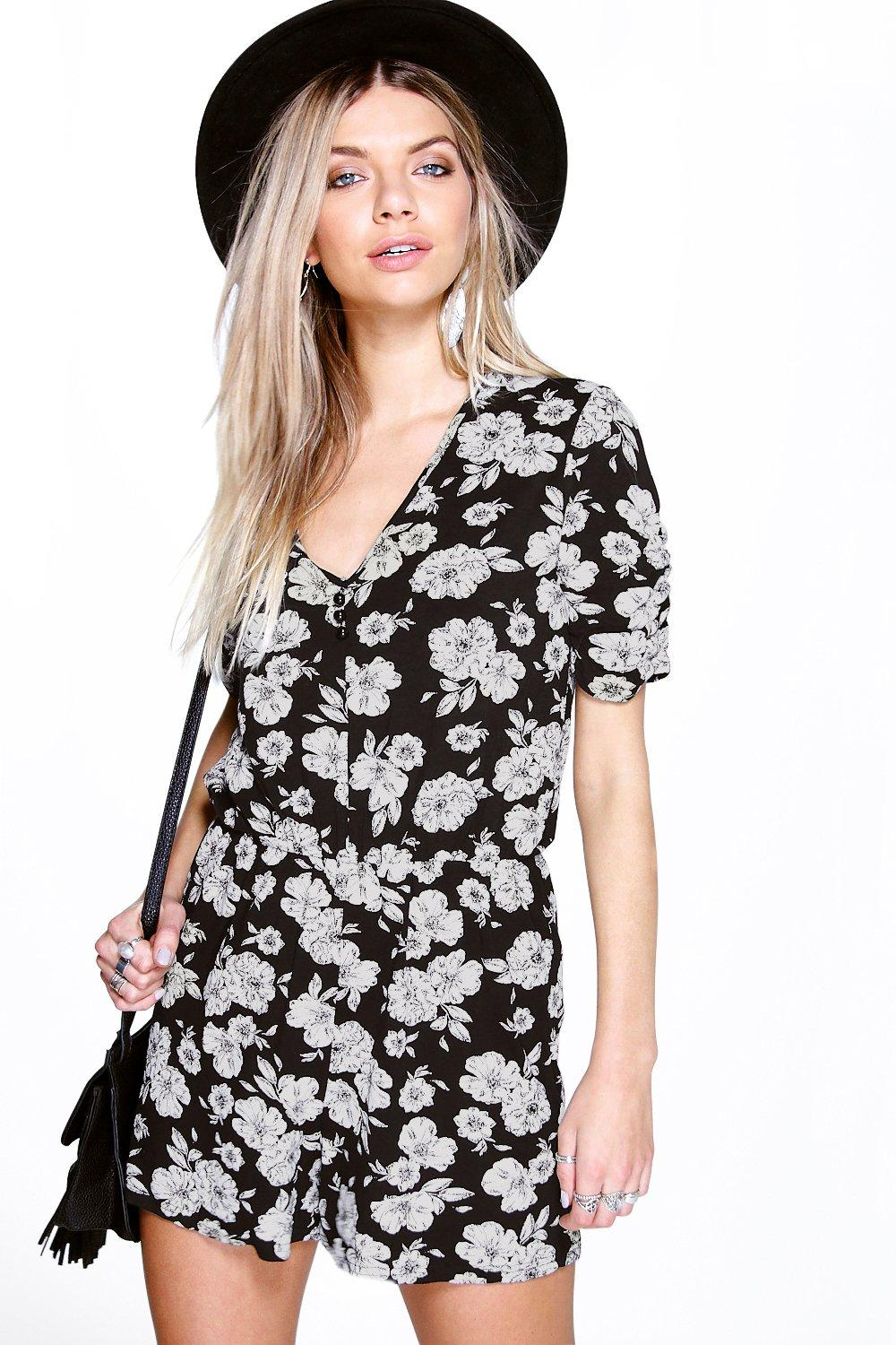 Capped Sleeve Button Front Playsuit black