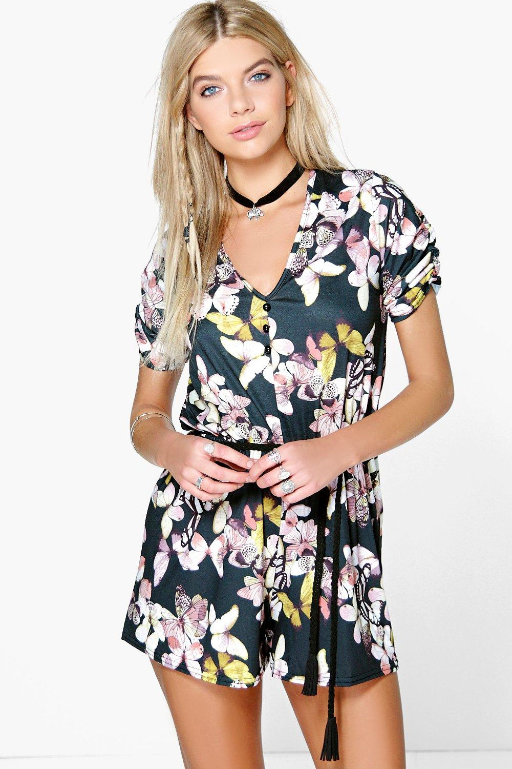 Keira Butterfly Print Button Front Playsuit