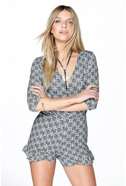 Lucy Tile Print Mono Frill Hem Playsuit