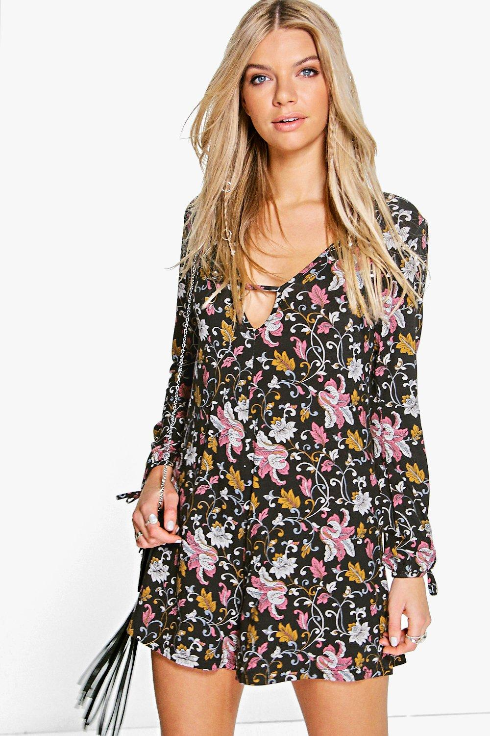 Ruby Floral Print Flute Sleeve Playsuit