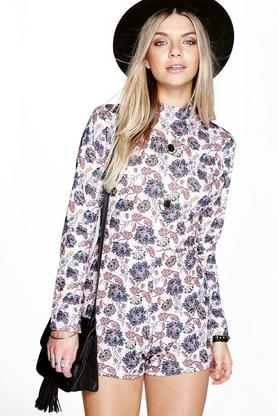 Eliza High Neck Flute Sleeve Playsuit