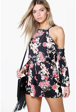 Lris Floral Cold Shoulder Flute Sleeve Playsuit
