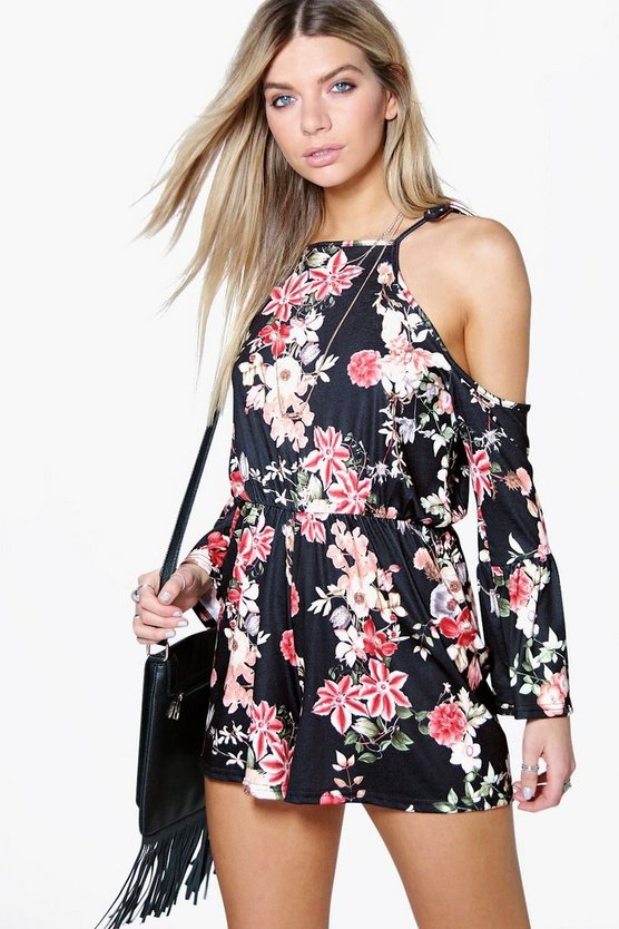 Laurie Floral Cold Shoulder Flute Sleeve Playsuit