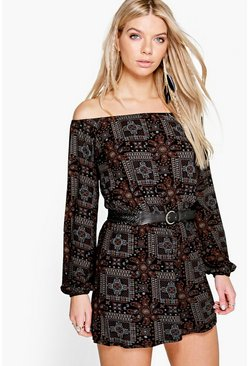 Leah Paisley Off The Shoulder Playsuit