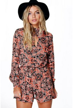 Eva Boho Print Balloon Sleeve Playsuit