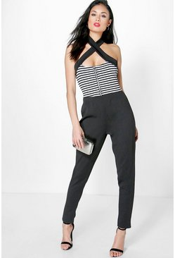 Ava Mono Stripe Zip Front Cross Over Jumpsuit