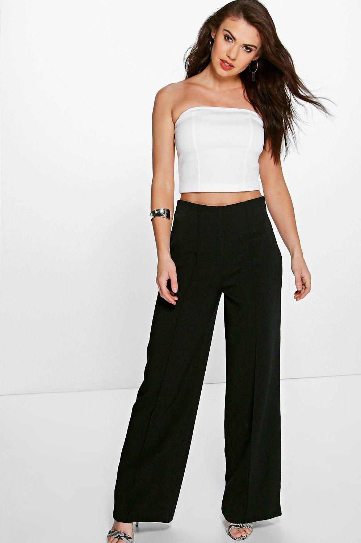 High Waist Pin Tuck Kick Flare Trousers  black
