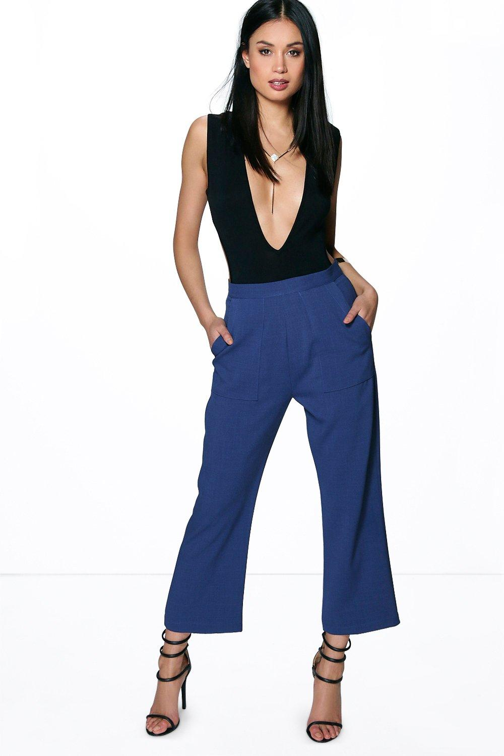 Ava Pocket Side Crop Flare Tailored Trousers