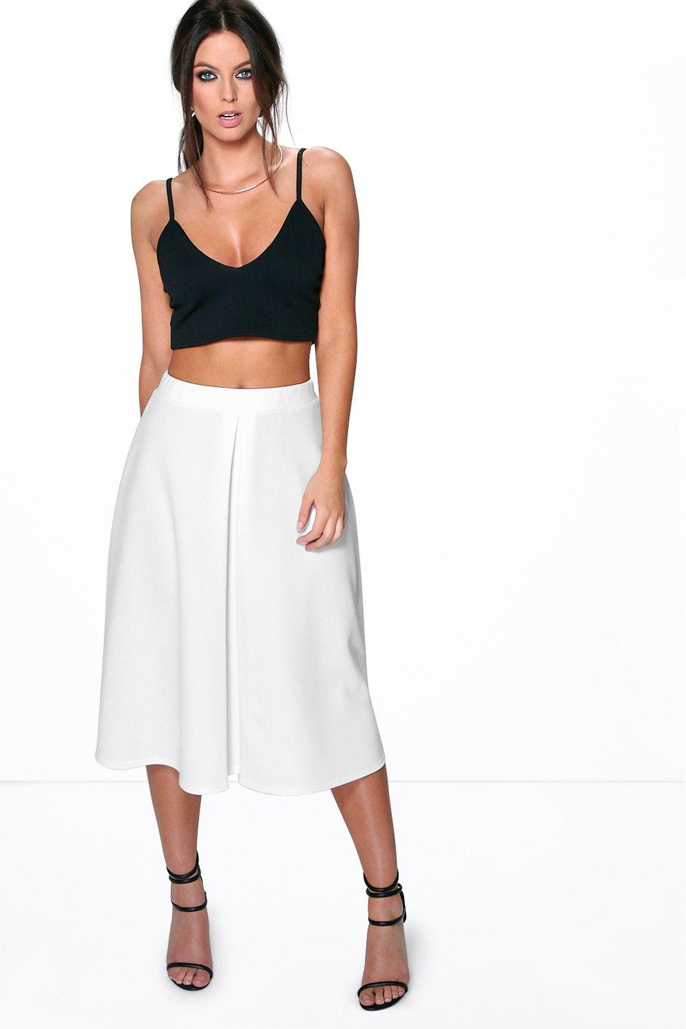 Aalia Box Pleat Front Scuba Midi Skirt
