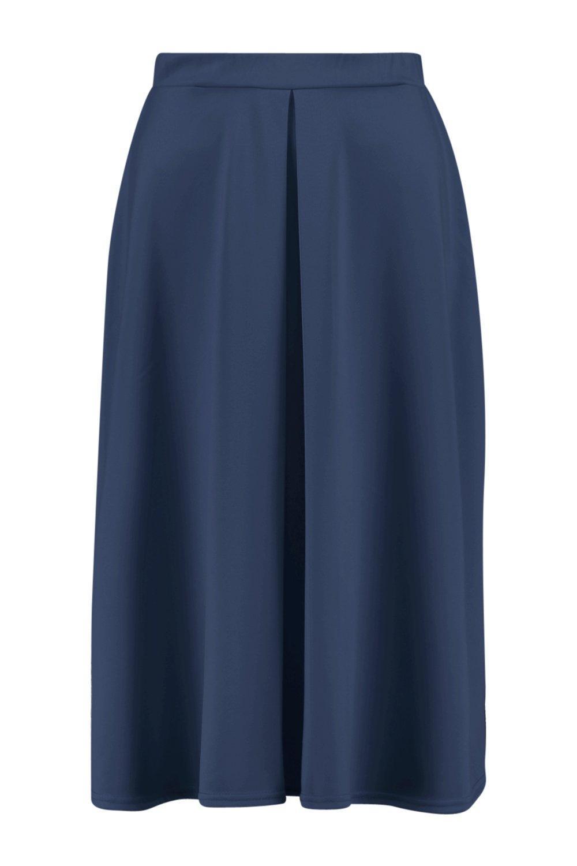 boohoo womens aalia box pleat front scuba midi skirt ebay