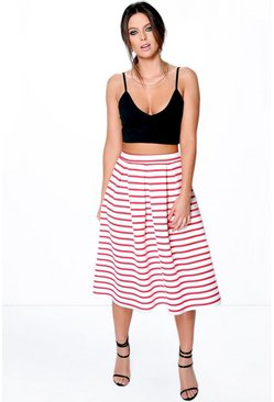 Aviela Box Pleat Striped Skater Skirt