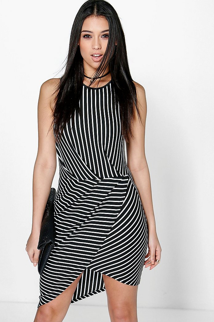 Hayley Striped Wrap Skirt Bodycon Dress