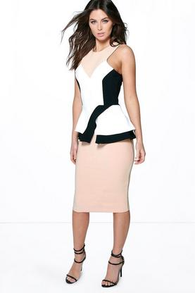 Freya Colour Block Panelled Peplum Dress