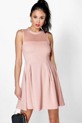 Nikki Mesh Top Seam Detail Skater Dress