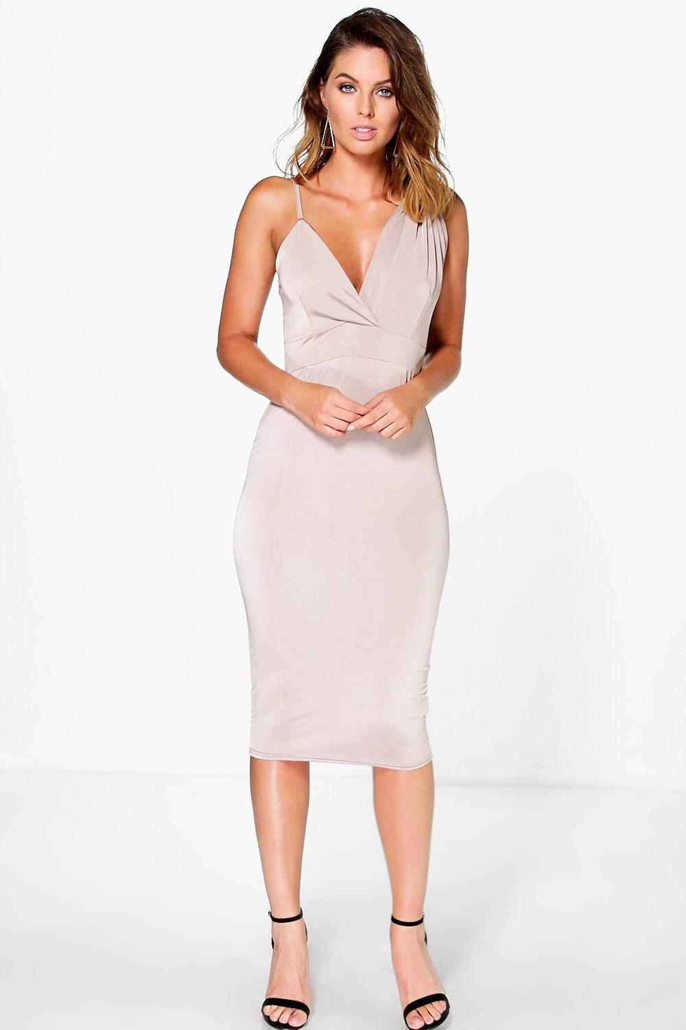 Debbi Strappy V Neck Midi Slip Dress