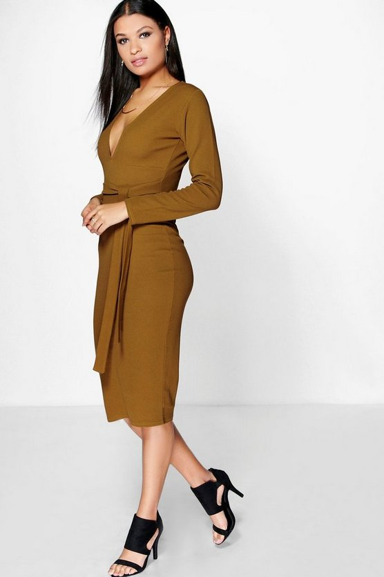 Sinead Plunge Tie Waist Midi Dress