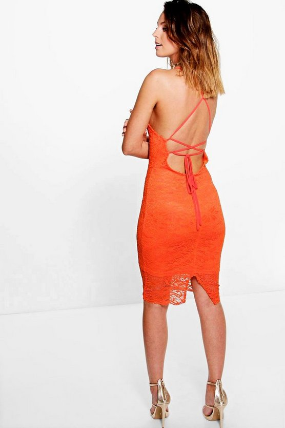 Becky Scallop Lace Strappy Bodycon Dress