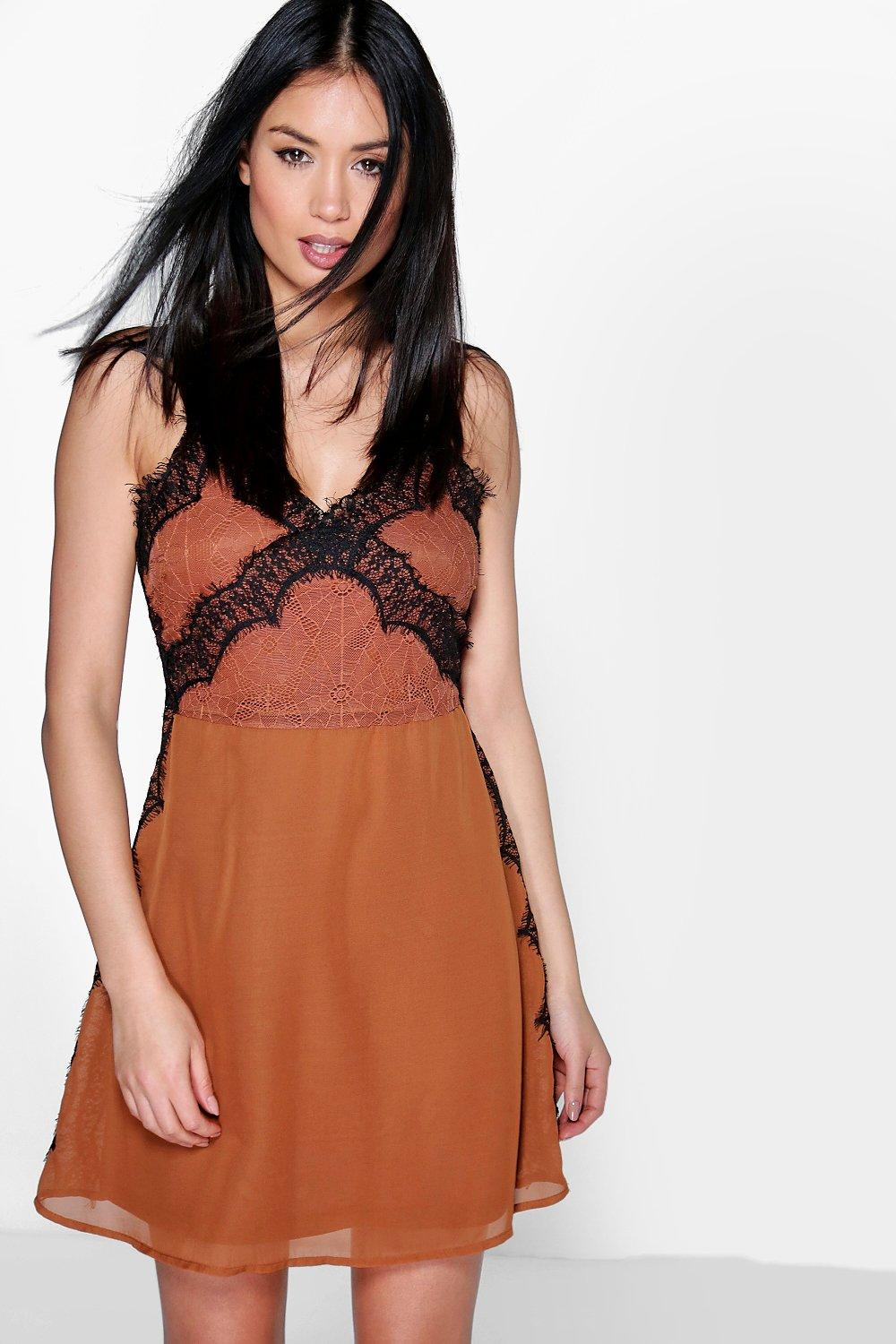 Boutique Emma Eyelash Lace & Chiffon Mini Slip Dress