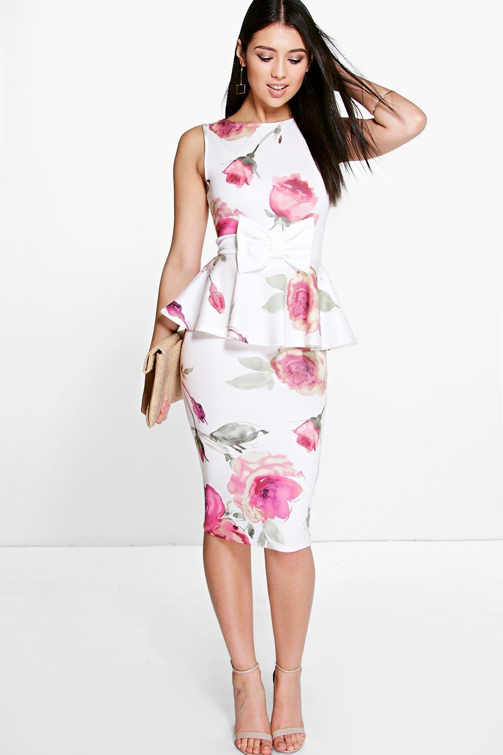 boohoo womens julie floral bow detail peplum midi dress ebay