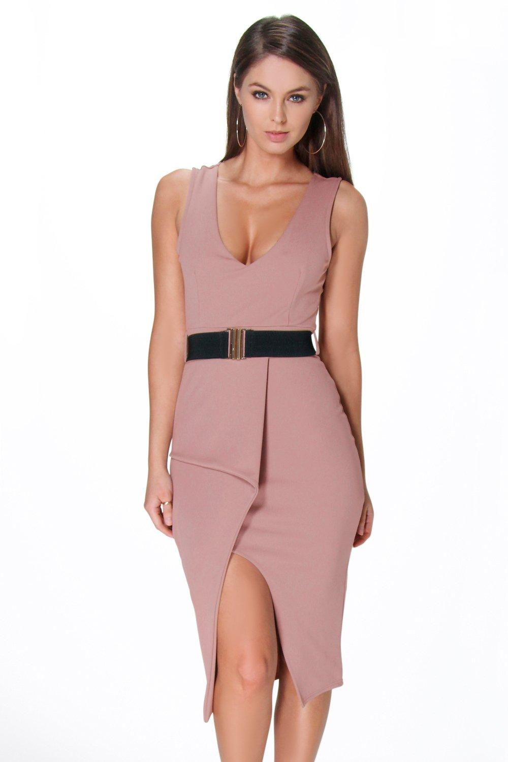 Kirsty Wrap Over Belted Plunge Peplum Dress