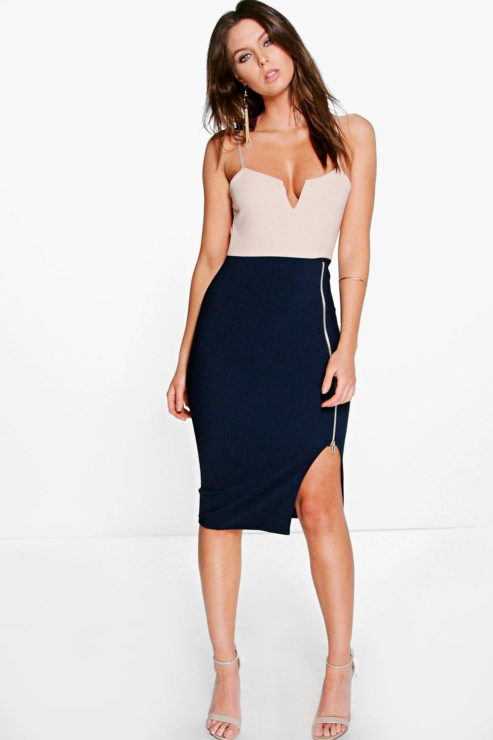 Lucy Contrast Skirt Zip Detail Midi Dress
