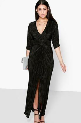 Michelle Kimono Sleeve Pleated Split Maxi Dress