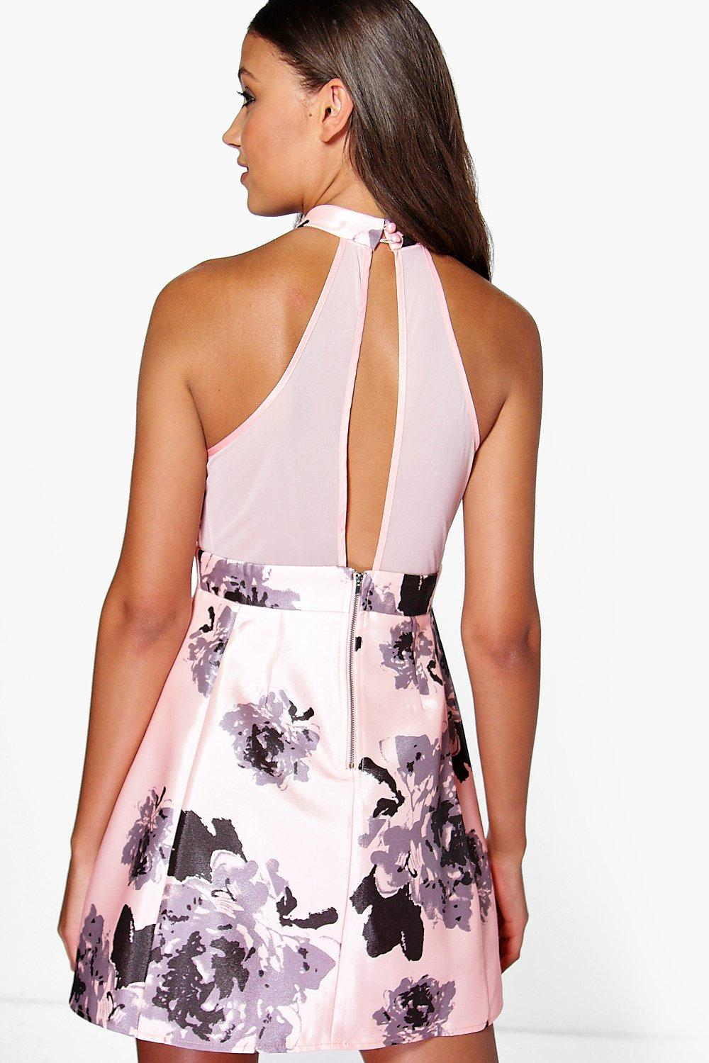 Boohoo Floral High Neck Skater Dress Cheap Prices Authentic How Much Cheap Online Shop vUvgNZhiuz